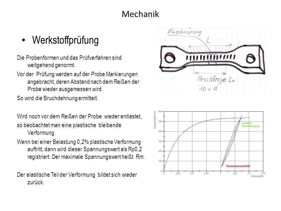 Mechanik Werkstoffprüfung Die Probenformen und das Prüfverfahren sind weitgehend genormt. Vor der Prüfung werden auf der Probe Markierungen angebracht