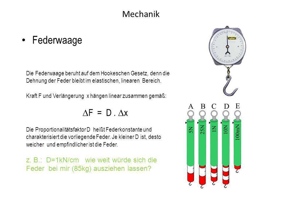 Mechanik Federwaage Die Federwaage beruht auf dem Hookeschen Gesetz, denn die Dehnung der Feder bleibt im elastischen, linearen Bereich. Kraft F und V