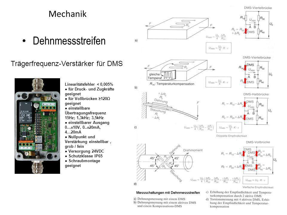 Mechanik Dehnmessstreifen Linearitätsfehler < 0,005% für Druck- und Zugkräfte geeignet für Vollbrücken 120 geeignet einstellbare Übertragungsfrequenz