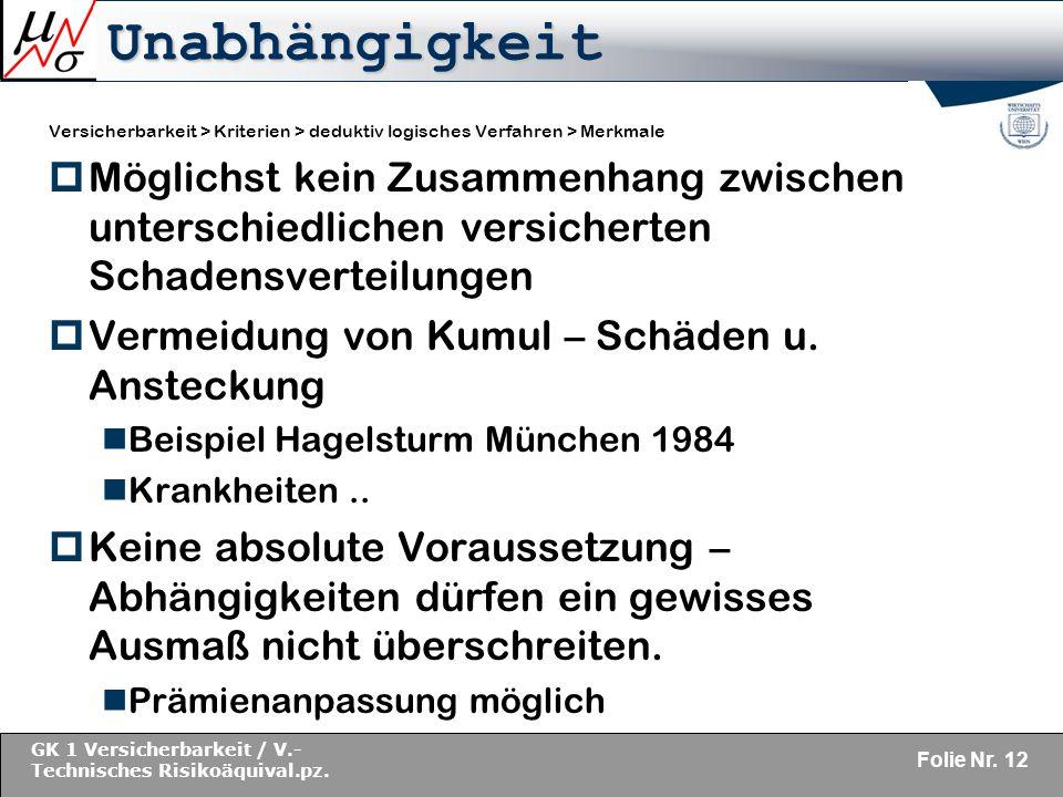 GK 1 Versicherbarkeit / V.- Technisches Risikoäquival.pz.