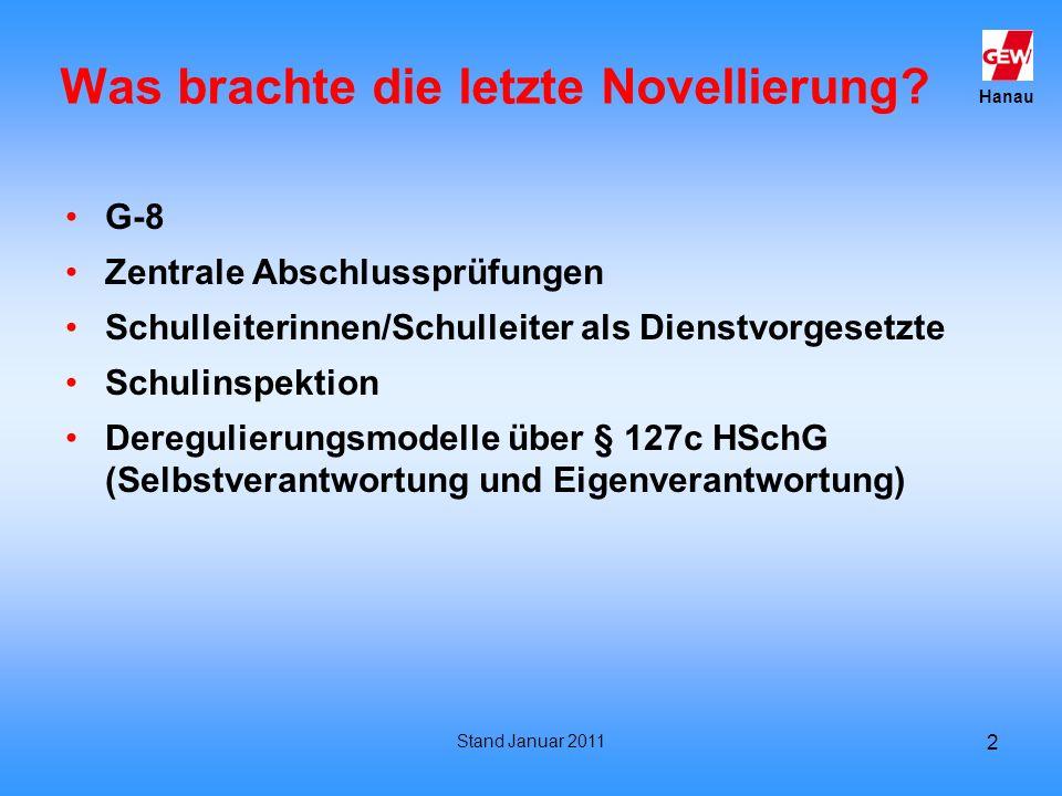 Hanau Stand Januar 2011 2 Was brachte die letzte Novellierung? G-8 Zentrale Abschlussprüfungen Schulleiterinnen/Schulleiter als Dienstvorgesetzte Schu