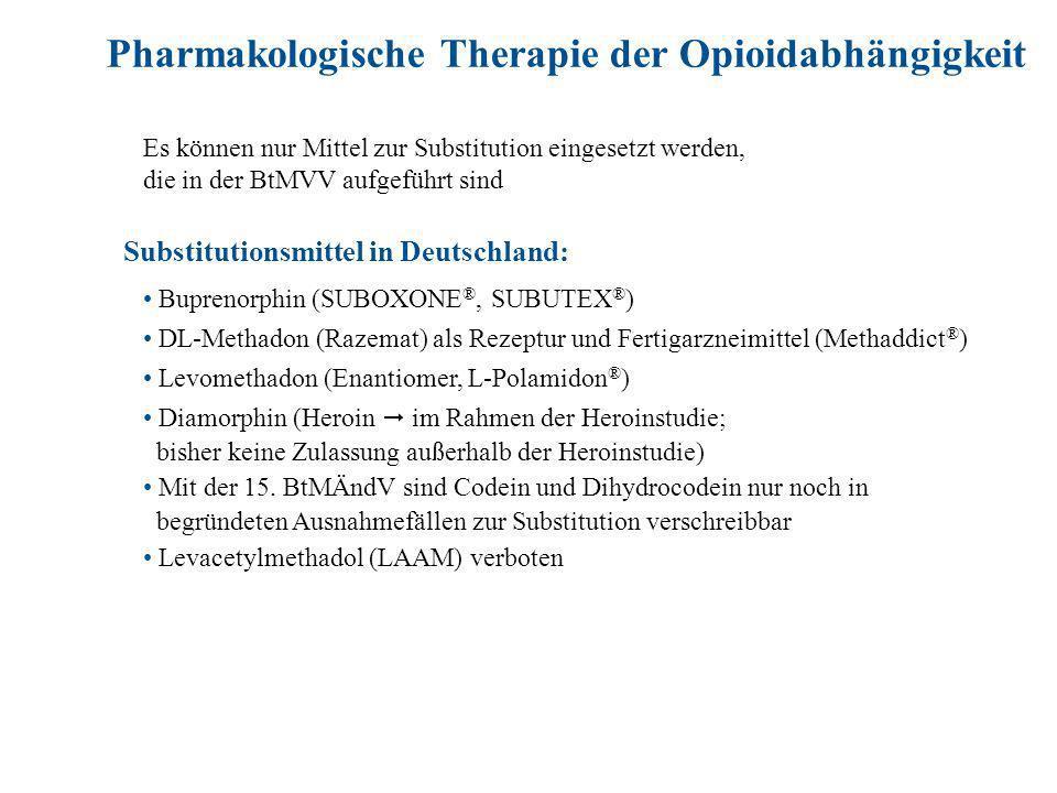 Pharmakologische Therapie der Opioidabhängigkeit Es können nur Mittel zur Substitution eingesetzt werden, die in der BtMVV aufgeführt sind Buprenorphin (SUBOXONE ®, SUBUTEX ® ) DL-Methadon (Razemat) als Rezeptur und Fertigarzneimittel (Methaddict ® ) Levomethadon (Enantiomer, L-Polamidon ® ) Diamorphin (Heroin im Rahmen der Heroinstudie; bisher keine Zulassung außerhalb der Heroinstudie) Mit der 15.