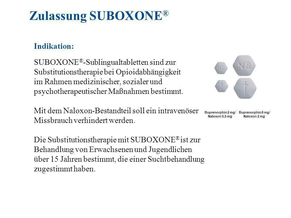 SUBOXONE ® -Sublingualtabletten sind zur Substitutionstherapie bei Opioidabhängigkeit im Rahmen medizinischer, sozialer und psychotherapeutischer Maßnahmen bestimmt.