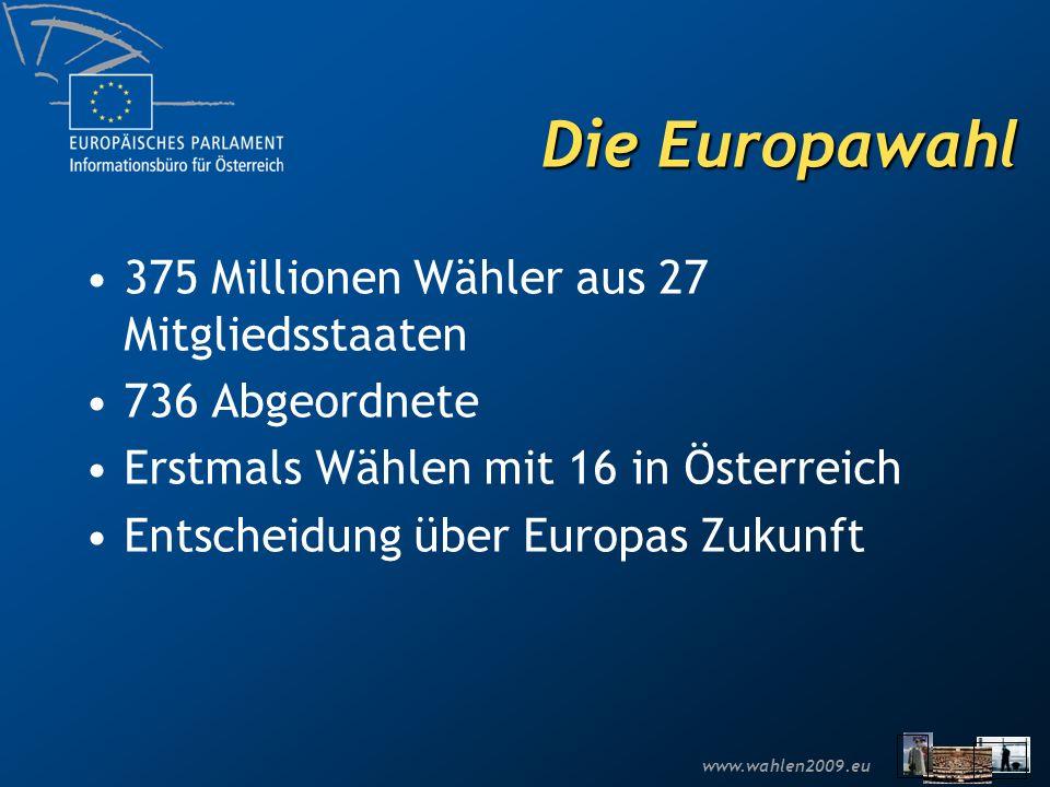 www.wahlen2009.eu 375 Millionen Wähler aus 27 Mitgliedsstaaten 736 Abgeordnete Erstmals Wählen mit 16 in Österreich Entscheidung über Europas Zukunft