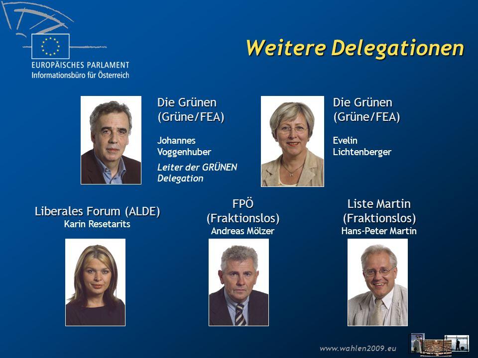 www.wahlen2009.eu Weitere Delegationen Die Grünen (Grüne/FEA) Johannes Voggenhuber Leiter der GRÜNEN Delegation Die Grünen (Grüne/FEA) Evelin Lichtenb