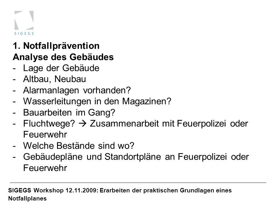 SIGEGS Workshop 12.11.2009: Erarbeiten der praktischen Grundlagen eines Notfallplanes 1.Notfallprävention Analyse des Gebäudes -Lage der Gebäude -Altb
