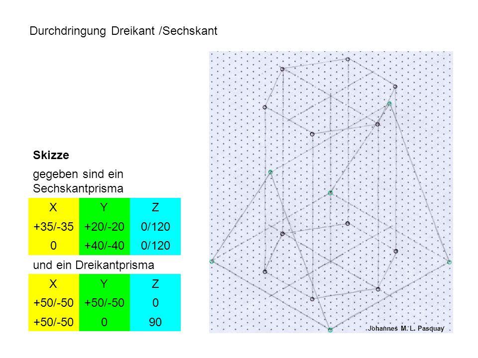 Durchdringung Dreikant /Sechskant Skizze gegeben sind ein Sechskantprisma XYZ +35/-35+20/-200/120 0+40/-400/120 und ein Dreikantprisma XYZ +50/-50 0 090 Johannes M.