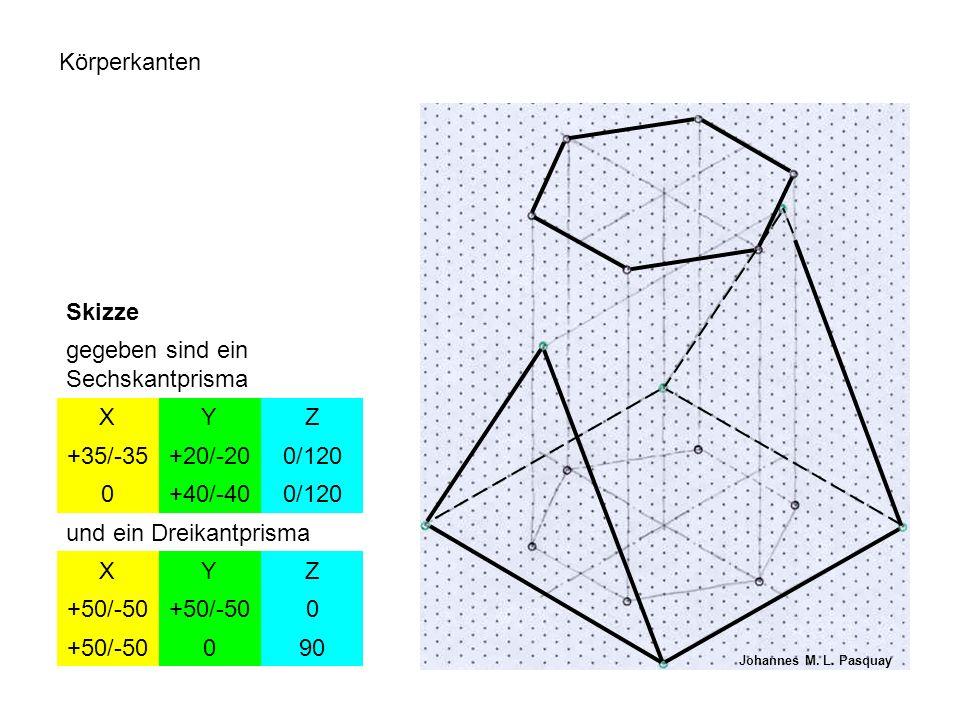Körperkanten Skizze gegeben sind ein Sechskantprisma XYZ +35/-35+20/-200/120 0+40/-400/120 und ein Dreikantprisma XYZ +50/-50 0 090 Johannes M. L. Pas
