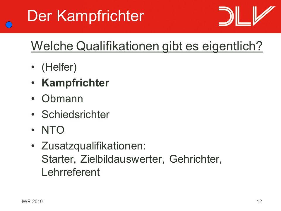 12IWR 2010 Welche Qualifikationen gibt es eigentlich? (Helfer) Kampfrichter Obmann Schiedsrichter NTO Zusatzqualifikationen: Starter, Zielbildauswerte