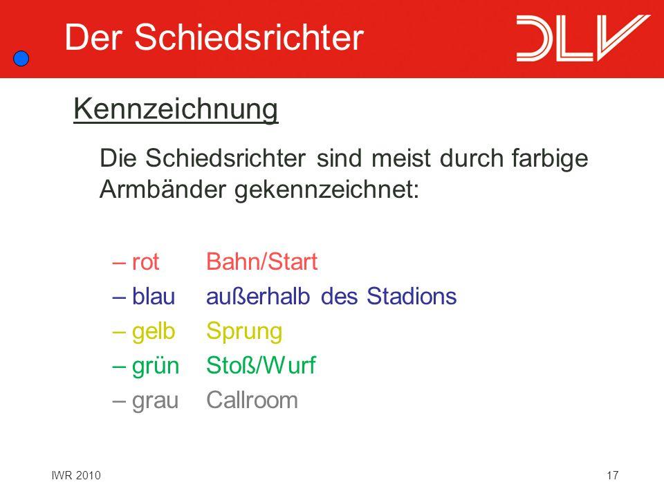17IWR 2010 Kennzeichnung Die Schiedsrichter sind meist durch farbige Armbänder gekennzeichnet: –rotBahn/Start –blauaußerhalb des Stadions –gelbSprung