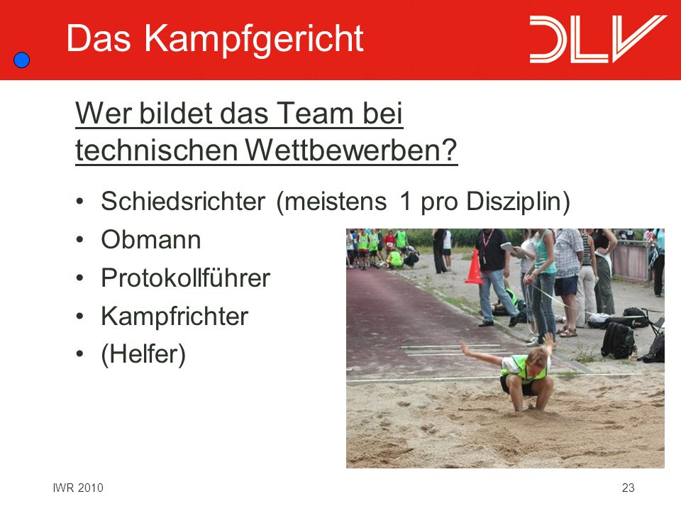 23IWR 2010 Wer bildet das Team bei technischen Wettbewerben? Schiedsrichter (meistens 1 pro Disziplin) Obmann Protokollführer Kampfrichter (Helfer) Da