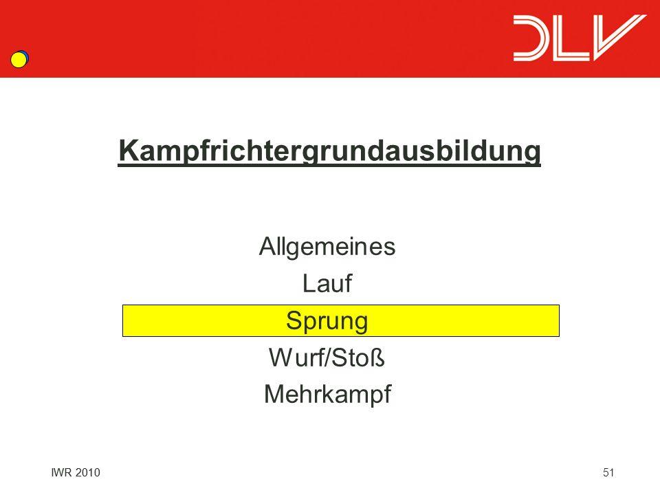 51IWR 2010 Kampfrichtergrundausbildung Allgemeines Lauf Sprung Wurf/Stoß Mehrkampf IWR 2010