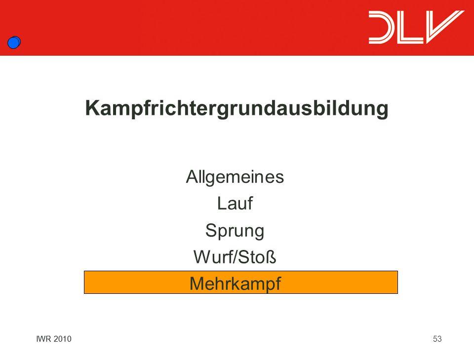 53 IWR 2010 Kampfrichtergrundausbildung Allgemeines Lauf Sprung Wurf/Stoß Mehrkampf IWR 2010