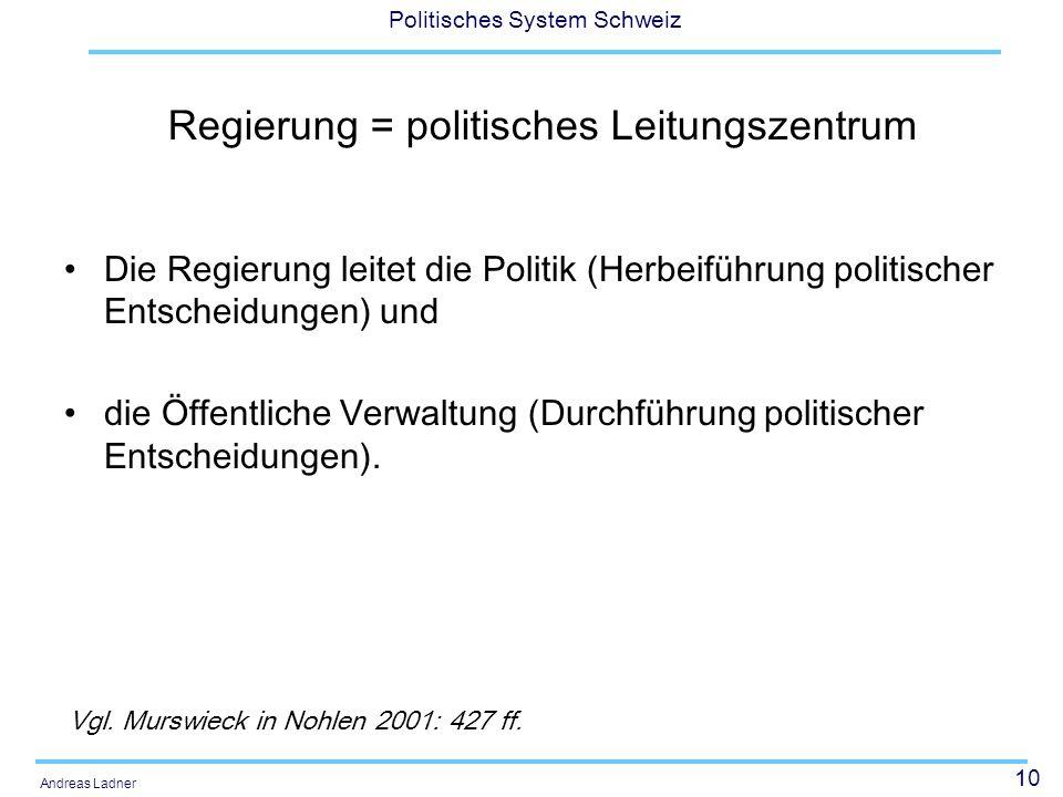 10 Politisches System Schweiz Andreas Ladner Regierung = politisches Leitungszentrum Die Regierung leitet die Politik (Herbeiführung politischer Entsc