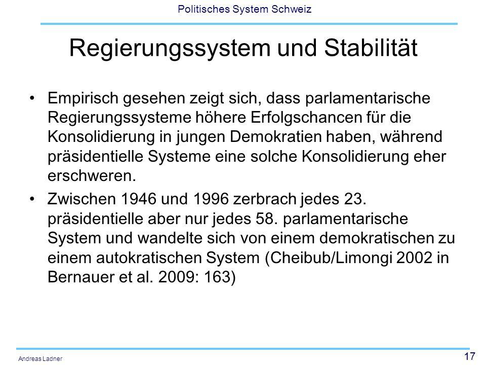 17 Politisches System Schweiz Andreas Ladner Regierungssystem und Stabilität Empirisch gesehen zeigt sich, dass parlamentarische Regierungssysteme höh