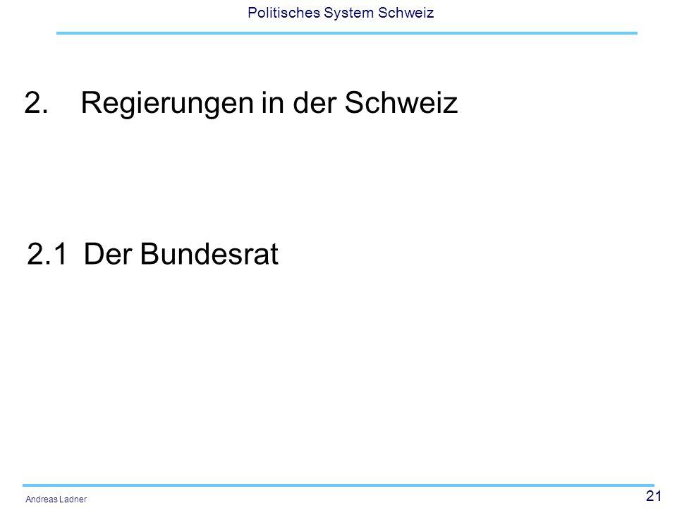 21 Politisches System Schweiz Andreas Ladner 2.Regierungen in der Schweiz 2.1Der Bundesrat