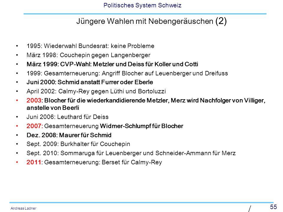 55 Politisches System Schweiz Andreas Ladner Jüngere Wahlen mit Nebengeräuschen (2) 1995: Wiederwahl Bundesrat: keine Probleme März 1998: Couchepin ge