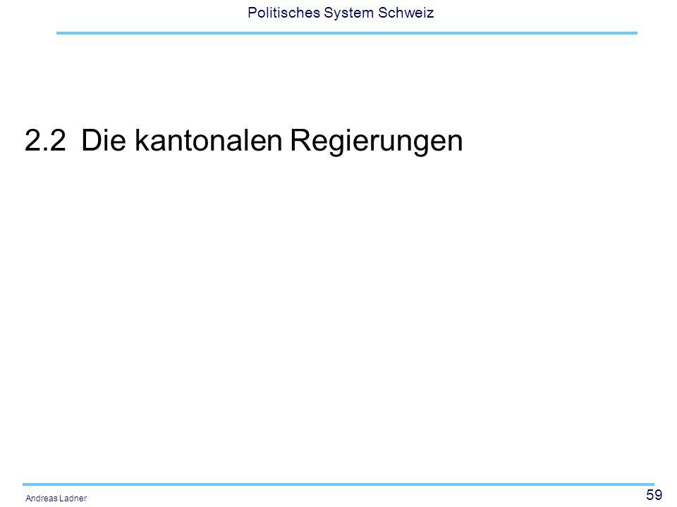 59 Politisches System Schweiz Andreas Ladner 2.2Die kantonalen Regierungen