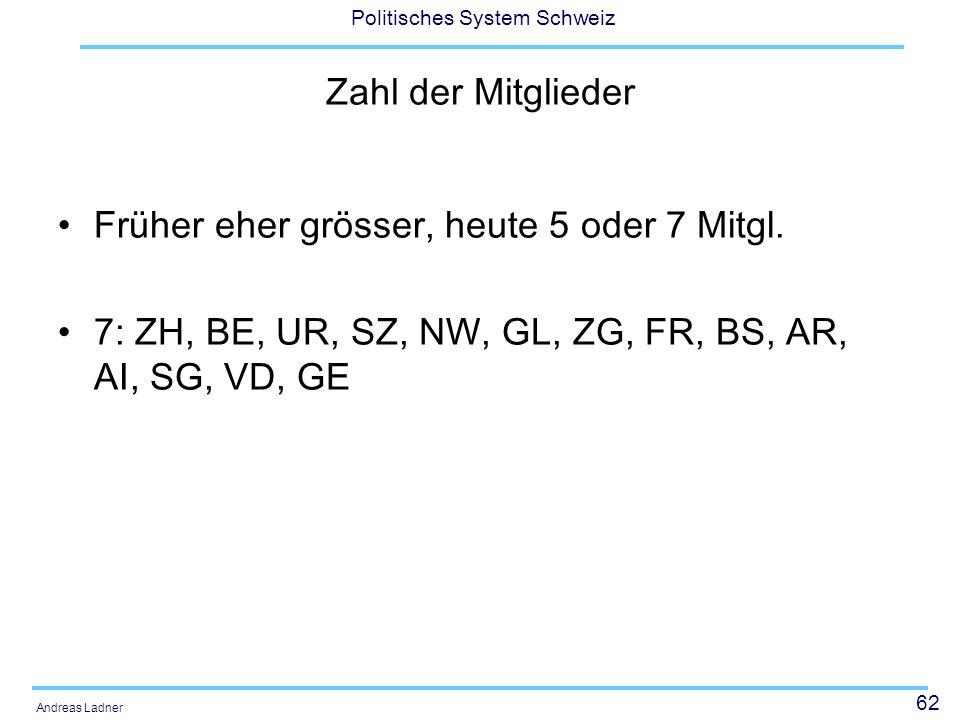 62 Politisches System Schweiz Andreas Ladner Zahl der Mitglieder Früher eher grösser, heute 5 oder 7 Mitgl. 7: ZH, BE, UR, SZ, NW, GL, ZG, FR, BS, AR,