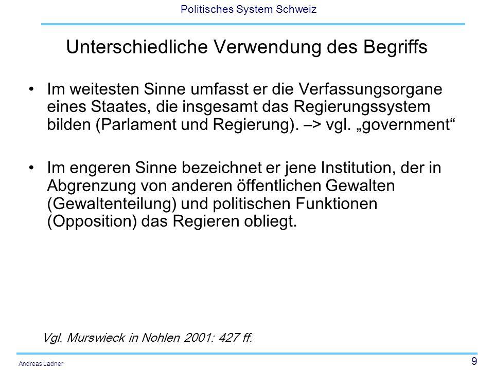 9 Politisches System Schweiz Andreas Ladner Unterschiedliche Verwendung des Begriffs Im weitesten Sinne umfasst er die Verfassungsorgane eines Staates