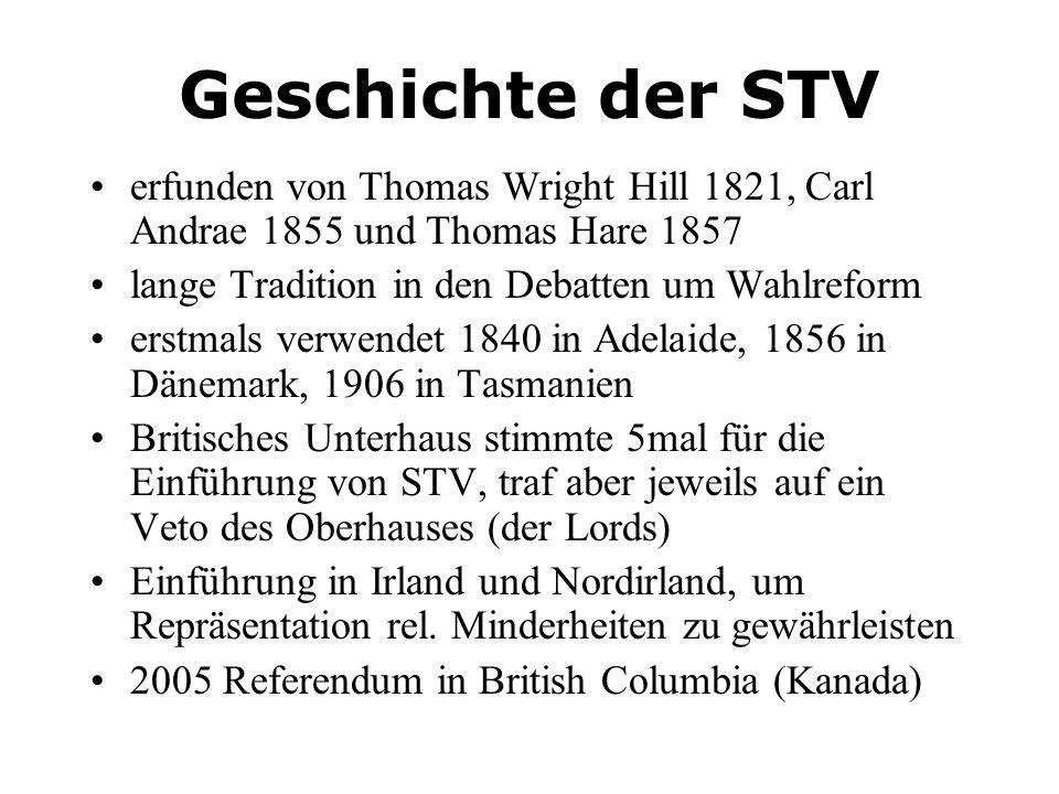 Geschichte der STV erfunden von Thomas Wright Hill 1821, Carl Andrae 1855 und Thomas Hare 1857 lange Tradition in den Debatten um Wahlreform erstmals