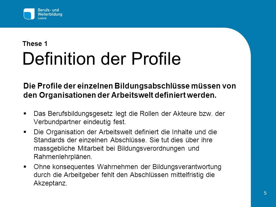 5 These 1 Definition der Profile Das Berufsbildungsgesetz legt die Rollen der Akteure bzw.
