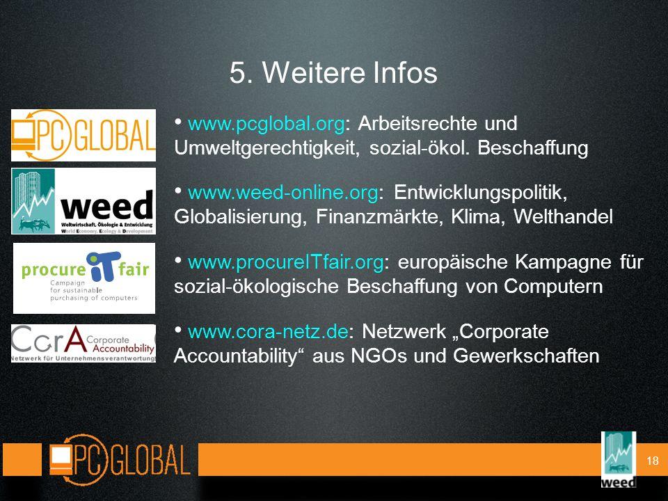 18 5. Weitere Infos www.pcglobal.org: Arbeitsrechte und Umweltgerechtigkeit, sozial-ökol.