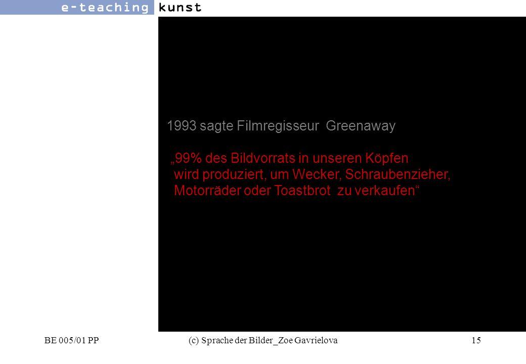 BE 005/01 PP(c) Sprache der Bilder_Zoe Gavrielova15 Werbung- Grafikdesign- Kunst 1993 sagte Filmregisseur Greenaway 99% des Bildvorrats in unseren Köpfen wird produziert, um Wecker, Schraubenzieher, Motorräder oder Toastbrot zu verkaufen