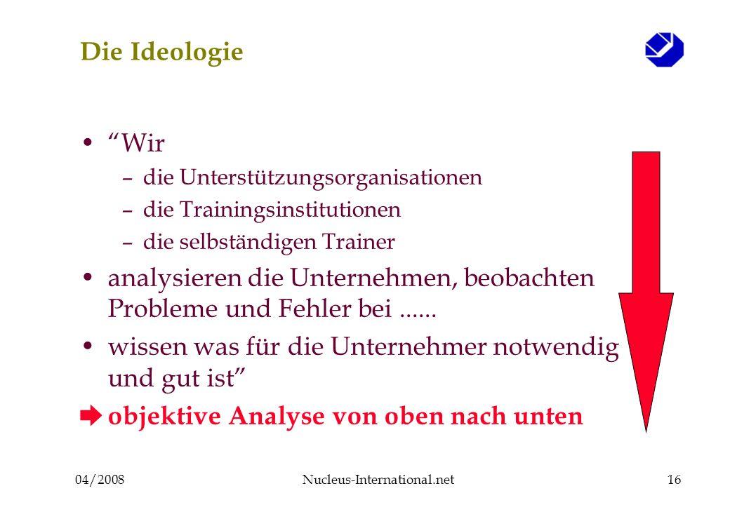 04/2008Nucleus-International.net16 Die Ideologie Wir –die Unterstützungsorganisationen –die Trainingsinstitutionen –die selbständigen Trainer analysieren die Unternehmen, beobachten Probleme und Fehler bei......