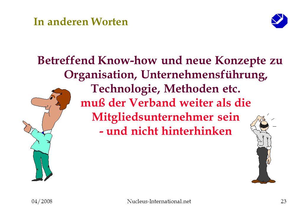 04/2008Nucleus-International.net23 In anderen Worten Betreffend Know-how und neue Konzepte zu Organisation, Unternehmensführung, Technologie, Methoden
