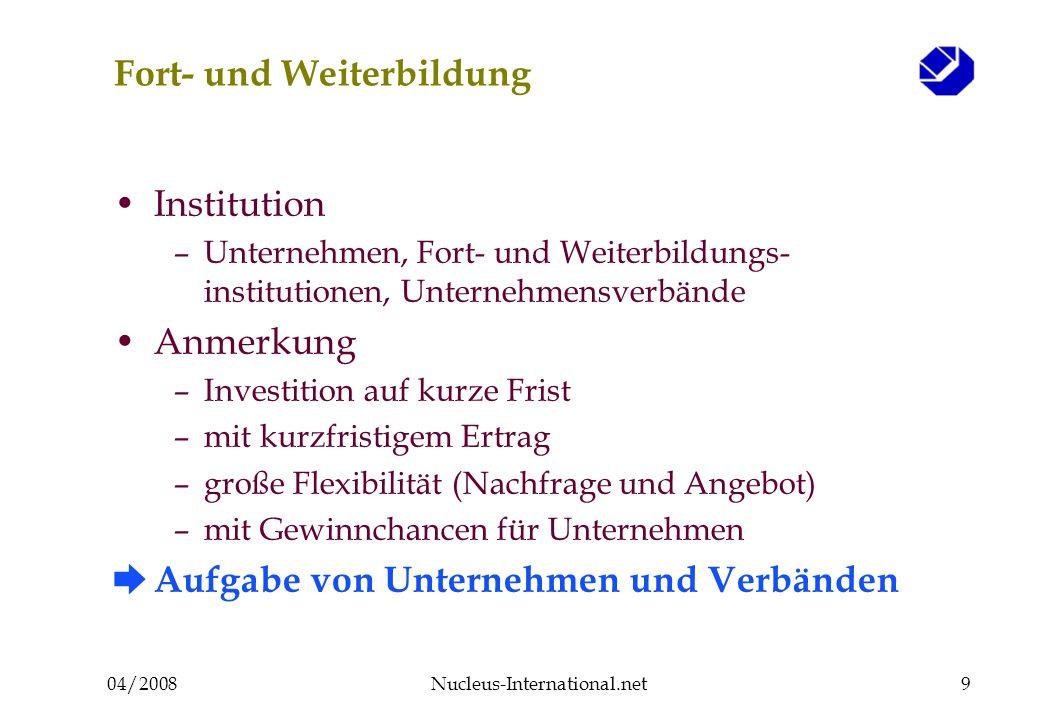 04/2008Nucleus-International.net9 Fort- und Weiterbildung Institution –Unternehmen, Fort- und Weiterbildungs- institutionen, Unternehmensverbände Anme