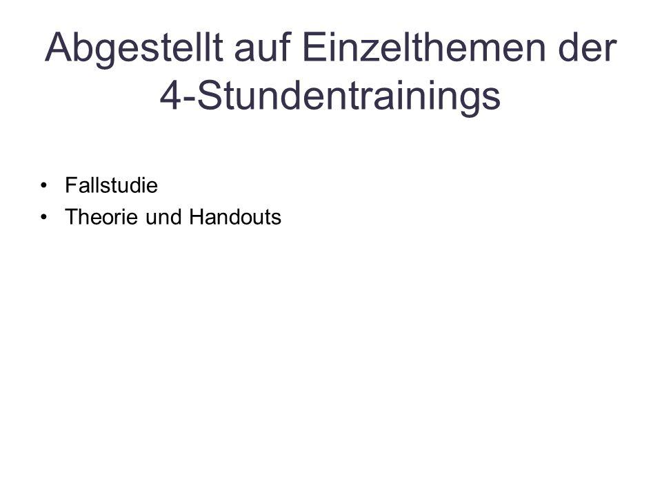 Abgestellt auf Einzelthemen der 4-Stundentrainings Fallstudie Theorie und Handouts