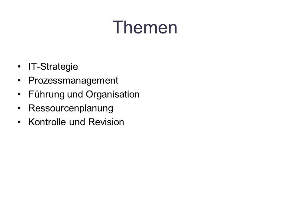 Themen IT-Strategie Prozessmanagement Führung und Organisation Ressourcenplanung Kontrolle und Revision