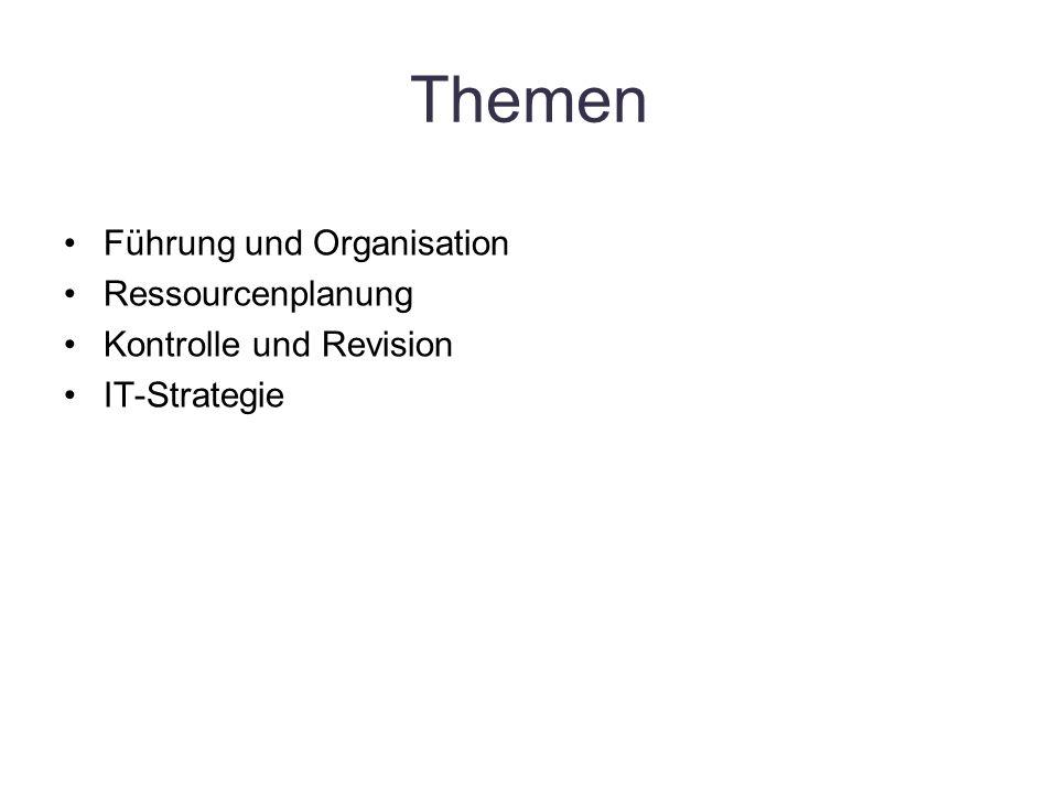 Themen Führung und Organisation Ressourcenplanung Kontrolle und Revision IT-Strategie