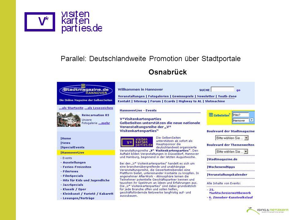Parallel: Deutschlandweite Promotion über Stadtportale Osnabrück