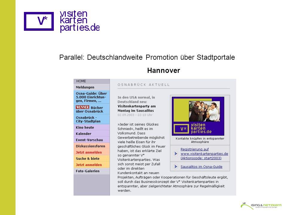 Parallel: Deutschlandweite Promotion über Stadtportale Hannover