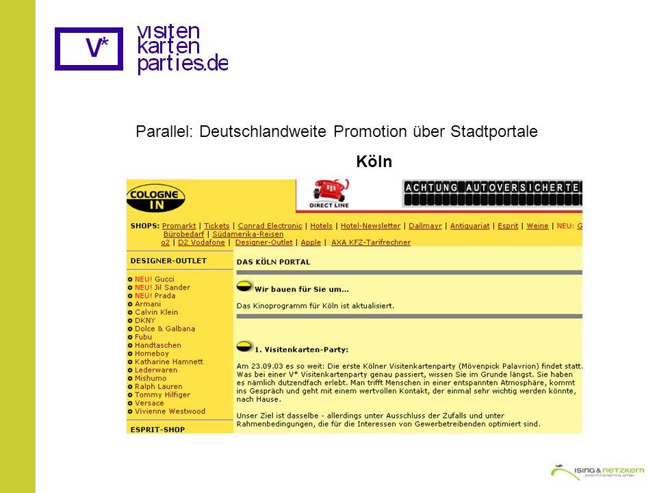 Parallel: Deutschlandweite Promotion über Stadtportale Köln