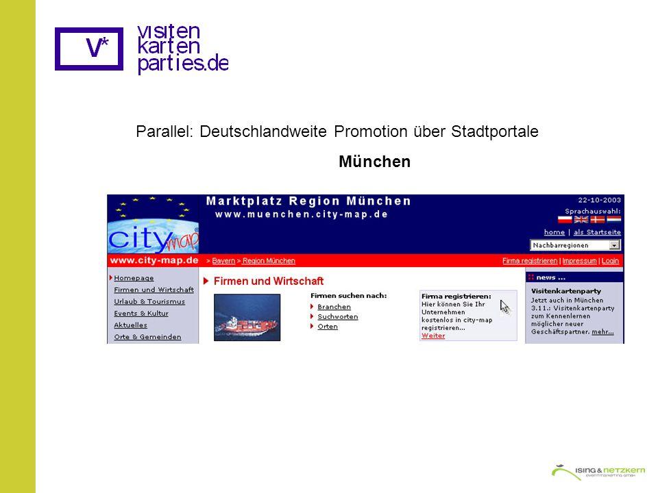 Parallel: Deutschlandweite Promotion über Stadtportale München