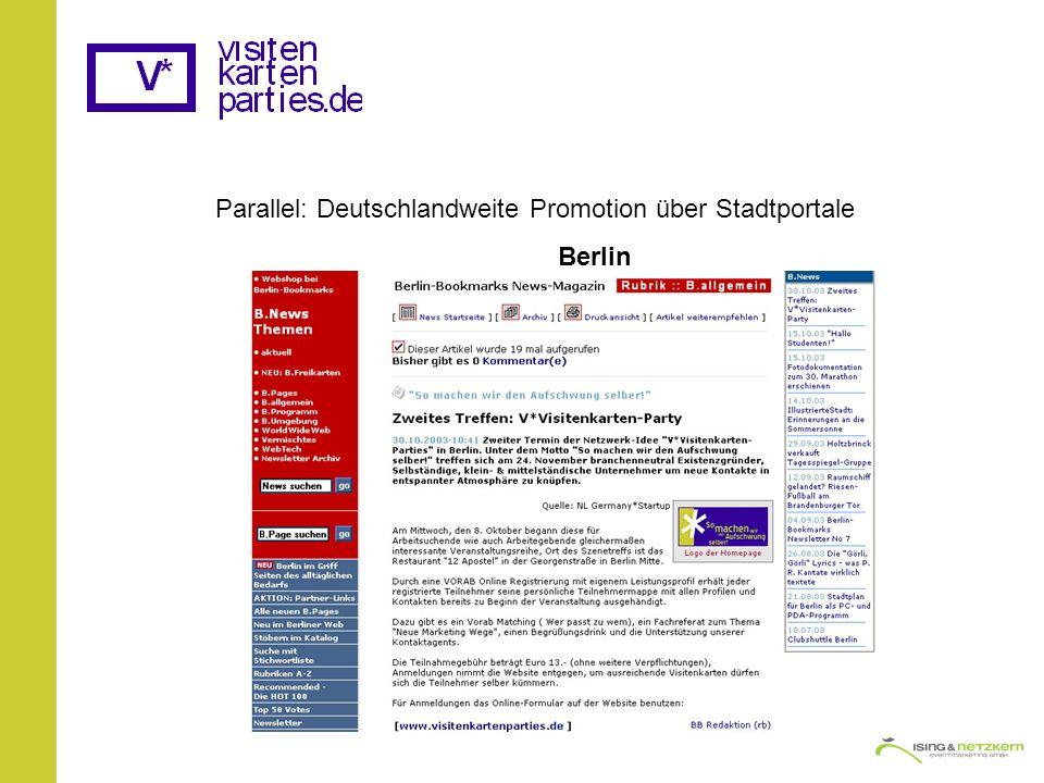 Parallel: Deutschlandweite Promotion über Stadtportale Berlin