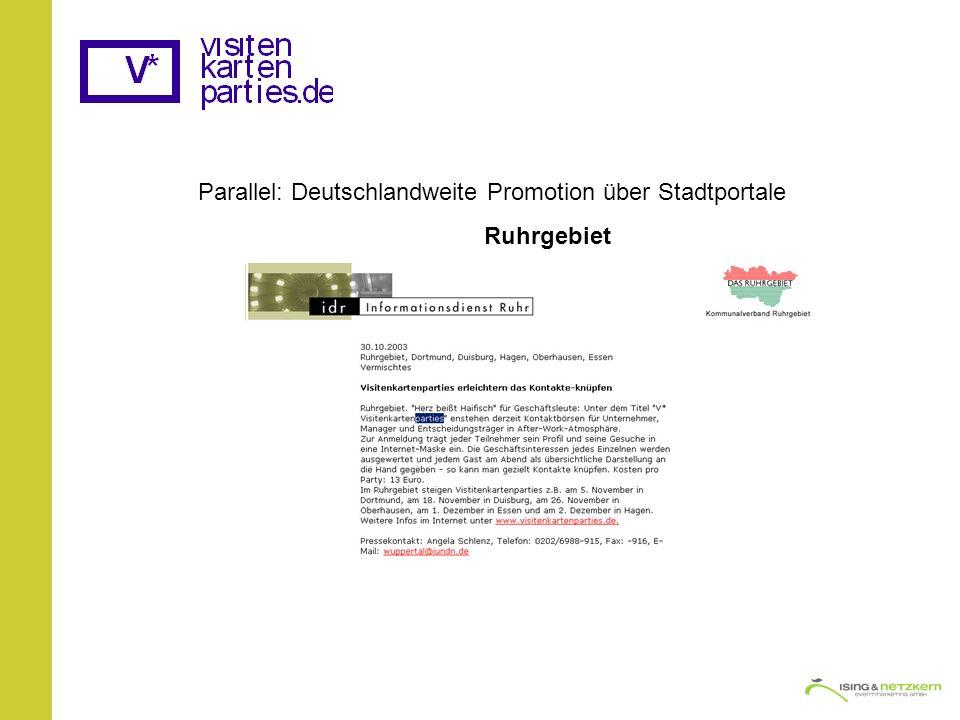Parallel: Deutschlandweite Promotion über Stadtportale Ruhrgebiet