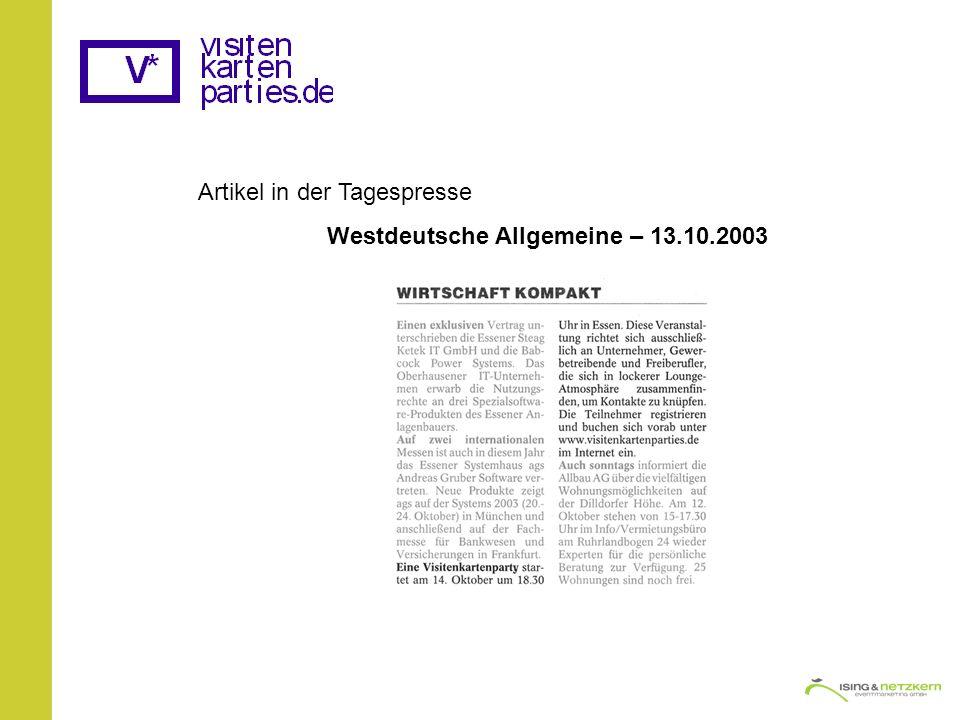Artikel in der Tagespresse Westdeutsche Allgemeine – 13.10.2003