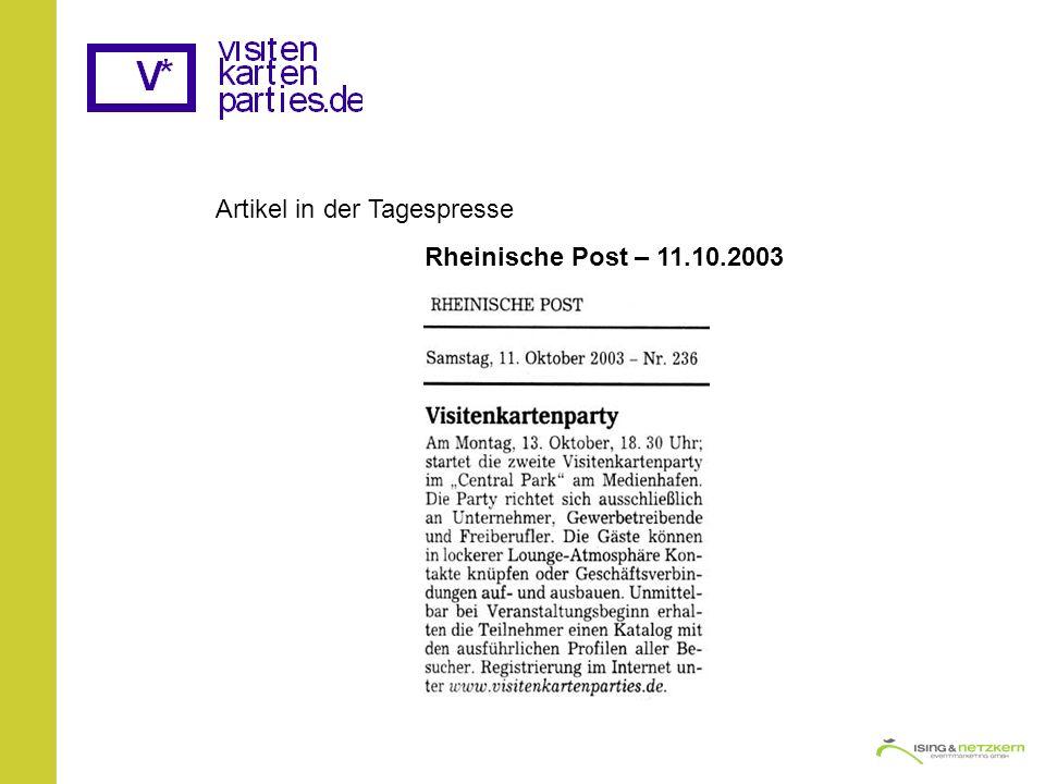 Artikel in der Tagespresse Rheinische Post – 11.10.2003