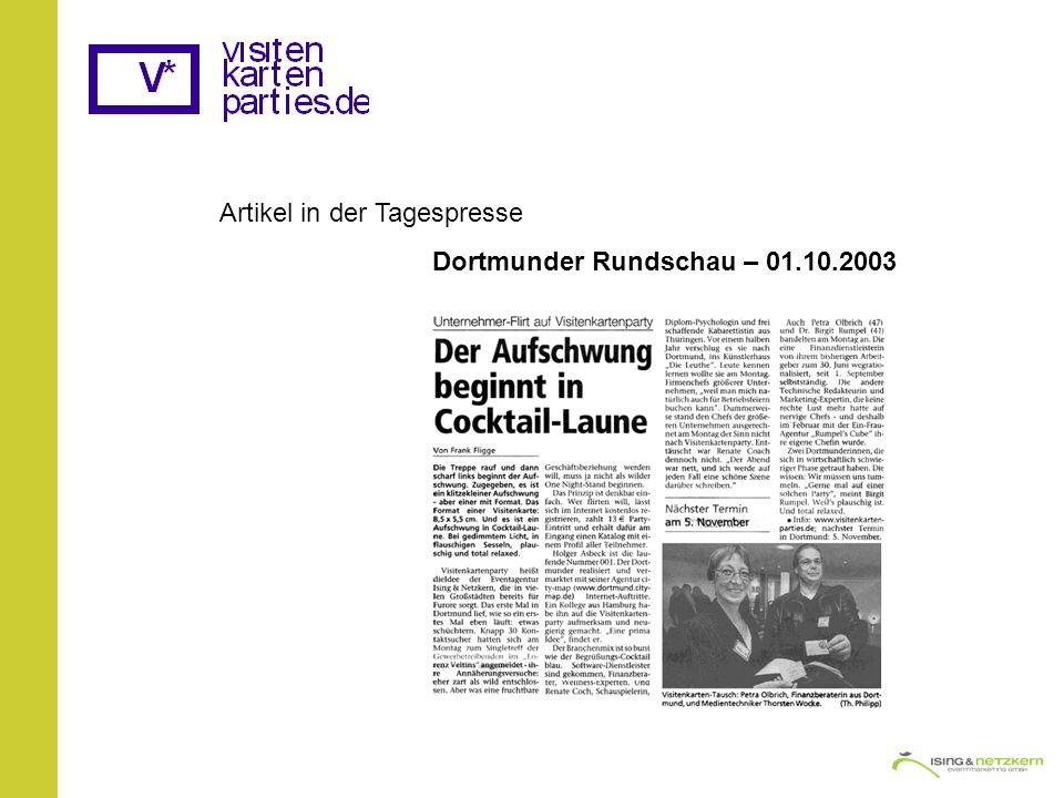 Artikel in der Tagespresse Dortmunder Rundschau – 01.10.2003