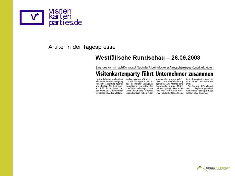 Artikel in der Tagespresse Westfälische Rundschau – 26.09.2003