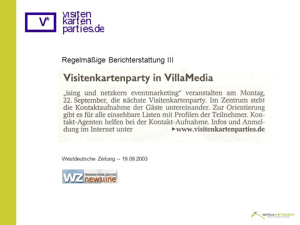 Regelmäßige Berichterstattung III Westdeutsche Zeitung – 19.09.2003