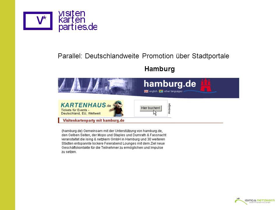 Parallel: Deutschlandweite Promotion über Stadtportale Hamburg
