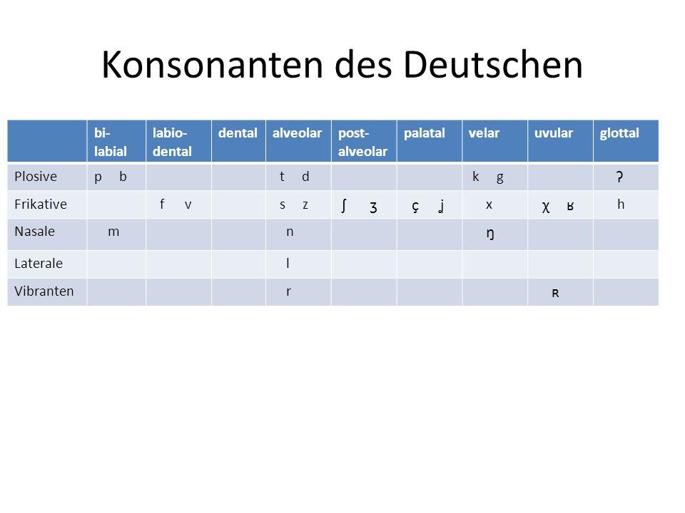 Konsonanten des Deutschen bi- labial labio- dental dentalalveolarpost- alveolar palatalvelaruvularglottal Plosivep b t d k g ʔ Frikative f v s z ʃ ʒ ç