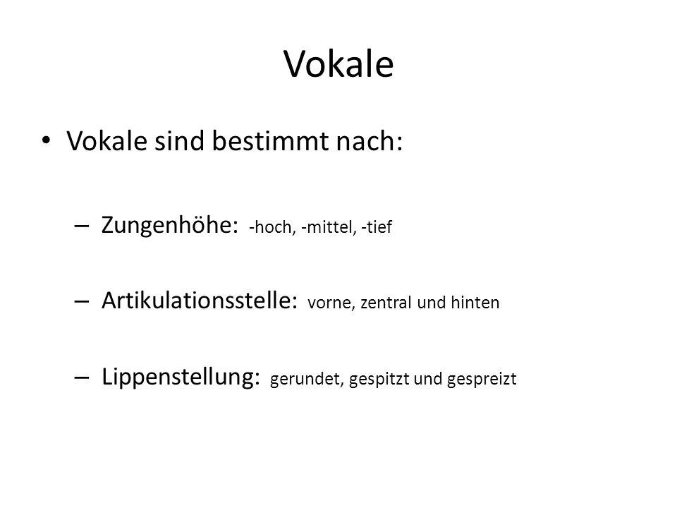 Vokale Vokale sind bestimmt nach: – Zungenhöhe: -hoch, -mittel, -tief – Artikulationsstelle: vorne, zentral und hinten – Lippenstellung: gerundet, ges