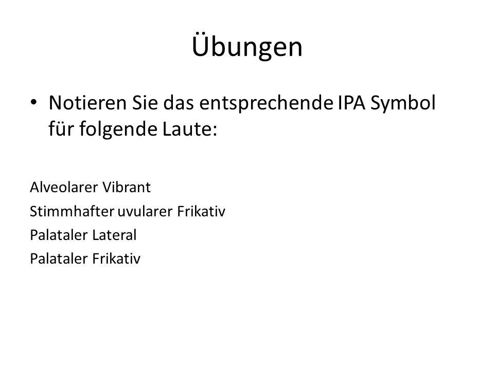 Übungen Notieren Sie das entsprechende IPA Symbol für folgende Laute: Alveolarer Vibrant Stimmhafter uvularer Frikativ Palataler Lateral Palataler Fri