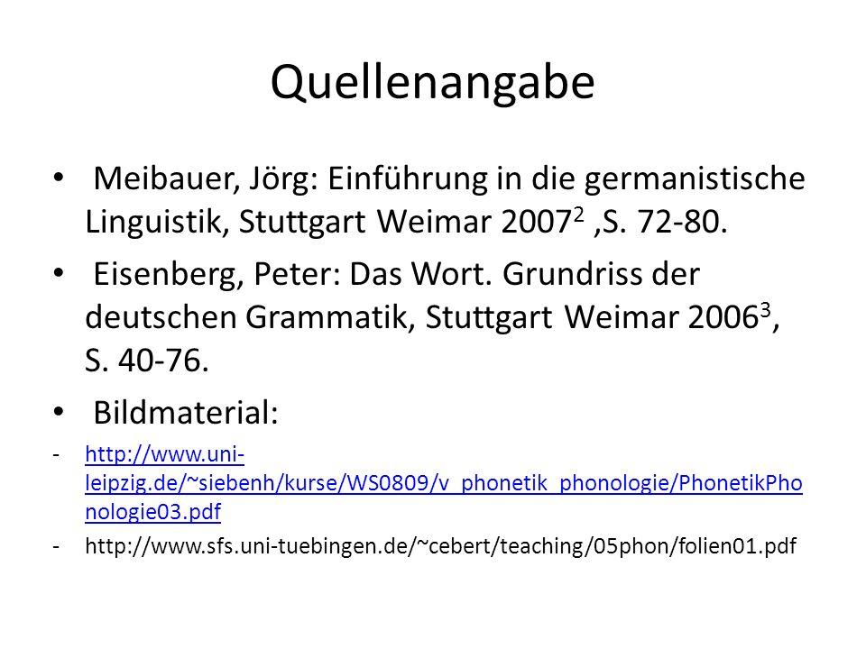 Quellenangabe Meibauer, Jörg: Einführung in die germanistische Linguistik, Stuttgart Weimar 2007 2,S. 72-80. Eisenberg, Peter: Das Wort. Grundriss der